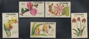 Colombia 1967 Orchids Sc 768-69, C489-C91  mint never hinged