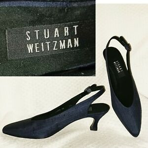 New $225 STUART WEITZMAN Navy Slingback Kitten Heel Pumps Heels NAVY PEAU 7.5SS