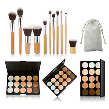 Mefeir 15 Colors Face Cream Makeup Concealer Palette 11Pcs Bamboo Flat Brush Set