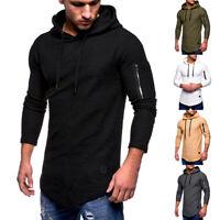 Men's Casual Slim Fit Hoodies Muscle Long Sleeve Sweatshirts T-shirt Tops Blouse