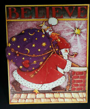"""Mary Engelbreit """"Believe"""" Christmas Dimensional Plaque/Picture ~ 9-1/4"""" x 7-3/4"""""""