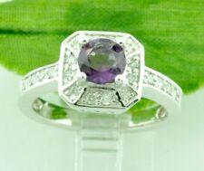 1.20 ct Natural  Amethyst & Diamond Ring 14k white gold  February Birthstone
