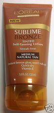 L'Oreal Sublime Bronze Tinted Self-Tanning Lotion Medium Natural Tan Vitamin E.