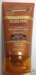 L'Oreal Sublime Bronze Tinted Self-Tanning Lotion Medium Natural Tan Vitamin E