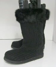 Womens Black Round Toe Sexy Mid-Calf Boot Fur On Top Size 6