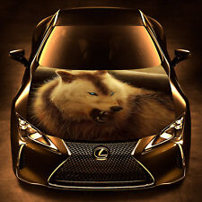 Angry Wolf Vinyl Car Hood Bonnet Wrap Decal Full Color Sticker fit any Auto