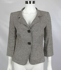 Max Mara Womens Brown White Houndstooth 100% Linen Italy Blazer Jacket Size 8