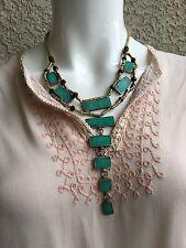NBJ Turquoise stone Bohemian Bib Necklace Beaded designer Natalie Balker