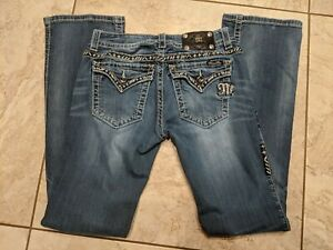 NEW MISS ME JE8036SR SKINNY DISTRESSED FLAP POCKETS THICK JEANS SIZE 25,26,27,30