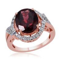 Girls Garnet Zircon Rose Gold Over 925 Sterling Silver Big Bold Ring 4.8 Ct -ST