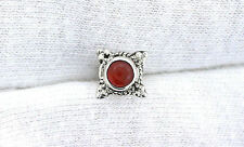 One Single 4mm Round Carnelian Agate Cabochon Sterling Silver Gem Stud Earring