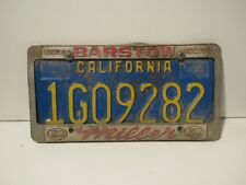 DMV cleared  California License Plate with Barstow Miller frame Embossed