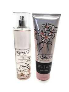 bath and body works night blooming jasmine body cream and fine fragrance mist
