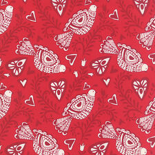 By 1/2 Yard Moda Kate Spain North Woods Felicity Cranberry Christmas Bird Fabric