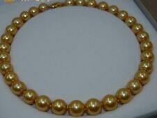"AAAA 18"" 12mm Real Natural South Sea Gold Round Edison pearl necklace 14K"