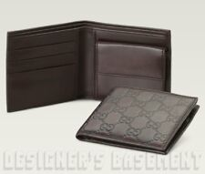 GUCCI Mens chocolate Leather GUCCISSIMA Bi-fold COIN POUCH wallet NIB Authentic!
