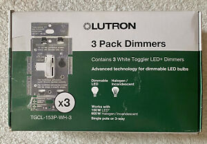 LUTRON TGCL-153P-WH-3 3-PACK BULB DIMMERS - WHITE - Single pole or 3-way