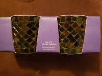 Hallmark Votive Candle Holder Set Mosaic Glass (No Candles) NEW in BOX
