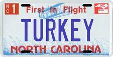 Turkey North Carolina Aluminum License Plate