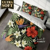 Tropical Flowers Floral Patterns Green Duvet Cover Cotton Duvet Cover 2X Shams