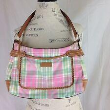 Relic by Fossil Springtime Multi Color Shoulder Handbag Purse Pink Green Plaid