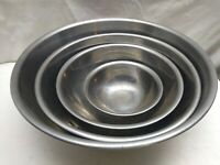 Stainless Steel 1-5 Qt Mixing Bowl Prepping Server Storage Set Of 4 Lot Bundle