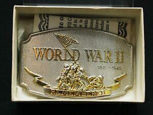 World War II Memorial Belt Buckle 1941-1945 Remembered COA 24k Gold With Box