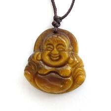 Tiger Eye Gemstone Tibet Buddhist Happy Buddha Amulet Pendant Talisman