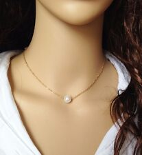 Simulated Single Pearl Gold Plated Chain Pendant Statement Necklace  Jewelry