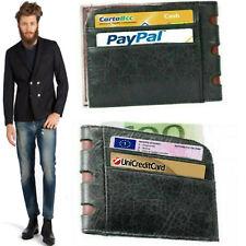 Portafoglio porta carte di credito tessere in pelle slim da uomo piccolo sottile