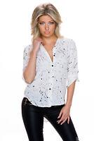 Damen Bluse Hemd Hemdbluse Shirt gemustert High low Saum weiss 34 36 Party Büro