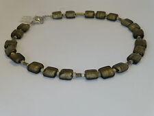 Kette Collier Silverfoil-Glasperlen Quadrat platin-grau matt *G110505* UNIKAT