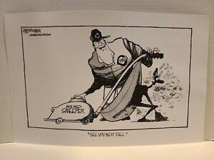 """Jim Borgman cartoon Cincinnati Reds, Lou Pinella, Oakland A's, 1990, 11""""x17"""""""