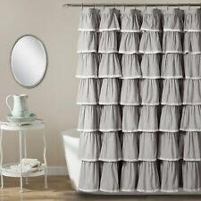 Lace Ruffle Shower Curtain Gray 72X72