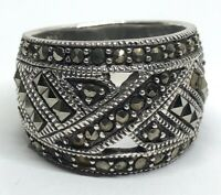 Vintage Sterling Silver Ring 925 Size 8 Thick Band Marcasite Missing Stones