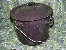 Vintage Black Speckled Enamel Ware Cooking Pot for Stove Top or Camping
