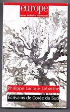 Revue littéraire EUROPE - Philppe Lacoue-Labarthe - Ecrivains de Corée du Sud