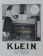 PUBLICITE KLEIN LE PIANO STUDIUM MELODIE MUSIQUE DE 1951 FRENCH AD PUB VINTAGE