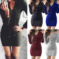 Women Knitted Long Sleeve V Neck Lace Up Sweater Jumper Slim Bodycon Mini Dress