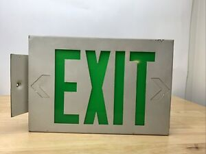 "Industrial Metal Single Sided Green LED Lighted Exit Sign 12"" X 7 1/2"""