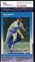 Bob Welch 1987 Fleer Jsa Coa Hand Signed Authentic Autographed Dodgers