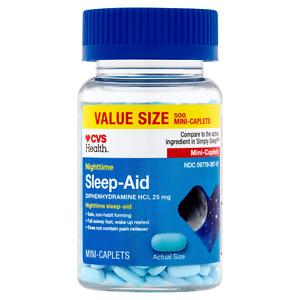 CVS Health Sleep Aid Mini Caplets Nighttime  Diphenhydramine HCl 25mg 500 CT