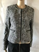 Banana Republic, Uk 8, Black & White Collarless Blazer/jacket, Pre-owned