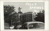 Holly Springs MS Court House & Cars Real Photo Postcard
