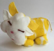 Vintage Eden Yellow White Cow Plush Cow Bell Wind Up Musical