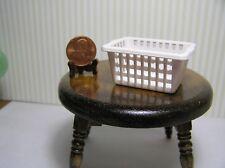 """Miniature Dollhouse White Plastic Clothes Basket   2 7/8"""" X 1 5/8"""" X 1"""" deep"""