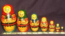 Vintage Russian USSR Nesting Dolls Hand Painted Matryoshka Dolls 7pc old Soviet