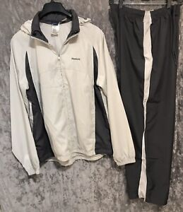 Reebok Track Suit Gray & White 2 Piece Pants/Jacket Size Large  NWOT