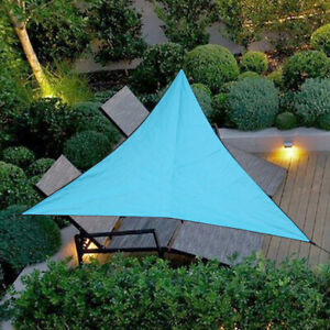 4M*4M Sun Shade Sail Outdoor Triangle Top Canopy Patio UV Block Tarpaulin Blue