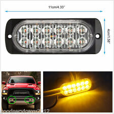 12-24V Ultra Slim Car Off-Road 12LED Amber Strobe Light Warning Lamp Waterproof